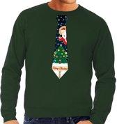 Foute kersttrui stropdas met kerst print groen voor heren 2XL (56)