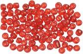 Rocailles, afm 6/0 , d: 4 mm, helder rood, 25gr, gatgrootte 0,9-1,2 mm