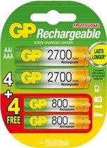 GP 4x AA 2600 mAh oplaadbare batterijen + 4x gratis AAA 800 mAh oplaadbare batterijen