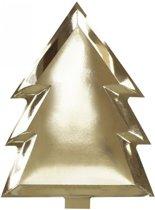 Wegwerp gouden borden in kerstboom vorm (6 stuks)