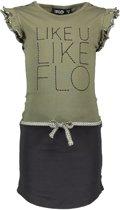 Like Flo Meisjes jurk jersey ruffle dress animal army - Maat 128
