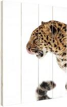 Sneeuwluipaard foto Hout 120x160 cm - Foto print op Hout (Wanddecoratie) XXL / Groot formaat!