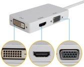 3in1 mini DisplayPort DP Male naar DVI, HDMI en VGA Female - Wit