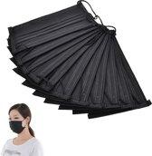 20 x Stevig zwart mondkapje 16.7 x 9.5 cm - 3-laags - Geschikt voor de bouw, klussen, Medische beroepen etc.