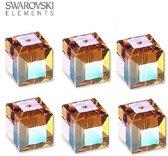 Swarovski kristal, kubus kralen van 10x10mm in de kleur Topaz AB. Verkocht per 6 stuks