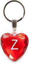 sleutelhanger - Letter Z - diamant hartvormig rood