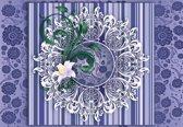 Fotobehang Vintage Pattern Purple   XXL - 312cm x 219cm   130g/m2 Vlies