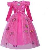 Prinsessen jurk roze maat 128/134 - gratis kroon + staf - met vlinders (labelmaat 140)