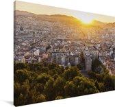 Zonsondergang over de Franse stad Marseille Canvas 180x120 cm - Foto print op Canvas schilderij (Wanddecoratie woonkamer / slaapkamer) / Europese steden Canvas Schilderijen XXL / Groot formaat!