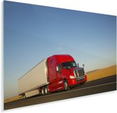 Rood gekleurde vrachtwagen Plexiglas 180x120 cm - Foto print op Glas (Plexiglas wanddecoratie) XXL / Groot formaat!