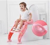 2-in1-Toilettrainer - Toilet Trainer met Verstelbare Anti-Slip Opstapje - Aantrekkelijk Design voor Kids - WC-Brilverkleiner - Toiletverkleiner - Roze