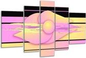 Glasschilderij Art | Paars, Geel, Zwart | 170x100cm 5Luik | Foto print op Glas |  F005565
