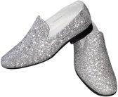 Zilveren pailletten disco loafers/instap schoenen voor heren 43