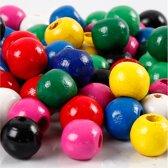 Houten kralen mix, d: 12 mm, gatgrootte 3 mm, 230 gr, diverse kleuren