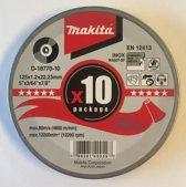 Makita 10 doorslijpschijven 125x1.2x22.23mm INOX: D-18770-10