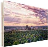Zonnestralen schijnen door de wolken over de Amerikaanse stad Boise Vurenhout met planken 60x40 cm - Foto print op Hout (Wanddecoratie)