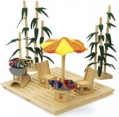 Hape - eco garden set - poppenhuis - tuin - bamboe met veilige materialen