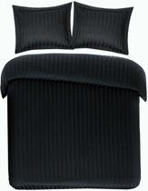 Zachte Katoen/Satijn Dekbedovertrek Satin Stripe Zwart   240x200/220   Heerlijk En Soepel   Hoogwaardige Kwaliteit