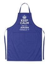 Mijncadeautje Schort - Keep Calm met je voornaam - opdruk wit - mooie en exclusieve keukenschort - blauw