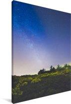 Melkweg boven het Nationaal park Sierra de Guadarrama in Spanje Canvas 80x120 cm - Foto print op Canvas schilderij (Wanddecoratie woonkamer / slaapkamer)