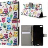 Multi owls print wallet case hoesje Huawei G Play Mini