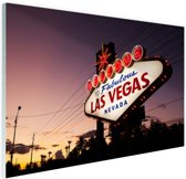 Verlicht Las Vegas welkomsbord Glas 120x80 cm - Foto print op Glas (Plexiglas wanddecoratie)