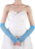 Vingerloze handschoen net Neon Blauw lang