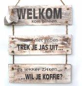 """Wandborden Hout Spreukbord Spreuken """" welkom""""  Woondecoratie Cadeau Verjaardag"""