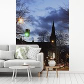 Fotobehang vinyl - Avond straatbeeld in het Engelse Sheffield breedte 220 cm x hoogte 300 cm - Foto print op behang (in 7 formaten beschikbaar)