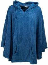 Poncho-met capuchon-kangoeroe zakken-Blauw H16