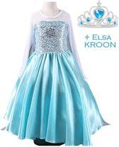 Frozen Elsa Jurk Ster met sleep en gratis kroon - blauw - Maat 122/128
