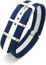 Premium Navy Blue White - Nato strap 18mm - Stripe - Horlogeband Navy Blauw Wit + luxe pouch