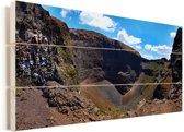 Wolken boven het rotslandschap van het Nationaal Park Vesuvius in Italië Vurenhout met planken 80x40 cm - Foto print op Hout (Wanddecoratie)