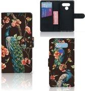 LG Q60 Telefoonhoesje met Pasjes Pauw met Bloemen