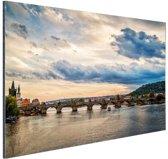 FotoCadeau.nl - Karelsbrug Praag zonsondergang Aluminium 30x20 cm - Foto print op Aluminium (metaal wanddecoratie)