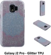 Uniek motief Glitter flower TPU Achterkant voor Samsung Galaxy J2 Pro -Zacht en duurzaam - TPU