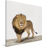 Leeuw dierenprint kinderkamer Canvas 20x20 cm - Foto print op Canvas schilderij (Wanddecoratie woonkamer / slaapkamer)