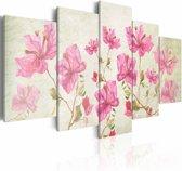 Schilderij - Foto met bloem , wit roze , 5 luik
