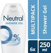 Neutral 0% Parfumvrij  Douchegel - 6 x 250 ml - Voordeelverpakking