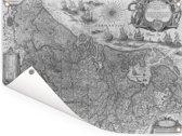 Een oude zwart witte landkaart van Nederland Tuinposter 160x120 cm - Tuindoek / Buitencanvas / Schilderijen voor buiten (tuin decoratie) XXL / Groot formaat!