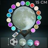 FOOCCA® Maan Lamp - 3D print Moon Lamp - 16 Kleuren LED met Afstandsbediening - Te Gebruiken Tijdens het Opladen! - Houten Standaard - Dimbaar – USB Oplaadbaar - Nachtlamp - Sfeerlamp - Leeslamp - 15 CM Diameter.