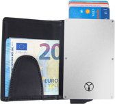Businessme Creditcardhouder Aluminium voor Heren en Dames - RFID Cardprotector - 9 Pasjes - Leren Hoesje met Briefgeldclip - Zwart