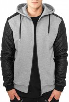 Urban Classics Diamond Leather Imitation Sleeve Zip Hoody Black  Maat L