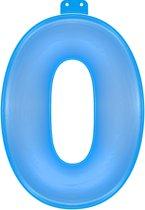Opblaas cijfer 0 blauw - met zuignap