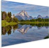 Weerspiegeling van een groen landschap en het Tetongebergte in het water Plexiglas 90x60 cm - Foto print op Glas (Plexiglas wanddecoratie)