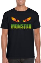 Halloween - Halloween monster ogen t-shirt zwart heren - Halloween kostuum S