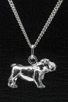 Zilveren Bulldog engelse ketting hanger - groot