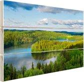 Uitzicht op meren  Hout 120x80 cm - Foto print op Hout (Wanddecoratie)