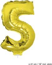 Helium Ballon Nummer 5 - Goud - 41 Cm