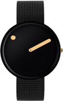 Picto 43314-1020 - Horloge - Staal - Zwart - ø 40 mm
